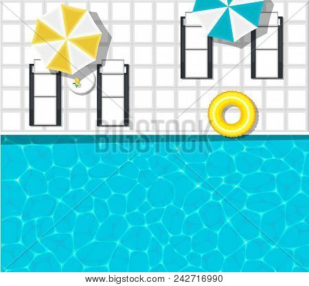 Water Park Banner With Swimming Pool And Space For Text. Yellow Pool Float, Sun Umbrella And Cocktai