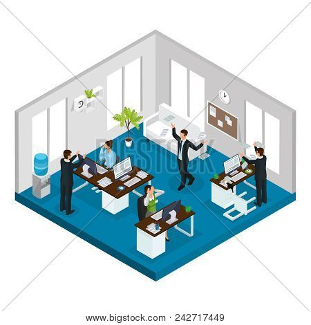 Isometric Stress At Work Concept With Workers In Stressful And Problematic Situations In Office Isol