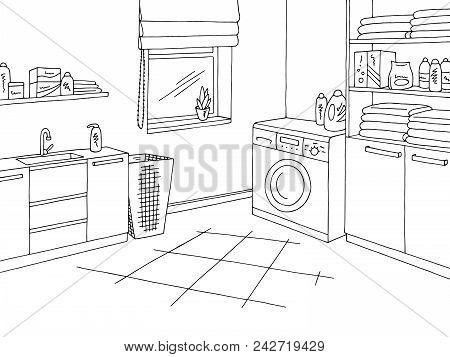 Laundry Room Home Interior Graphic Black White Sketch Illustration Vector