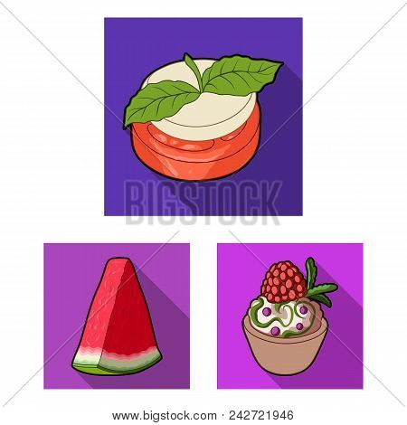 Vegetarian Dish Flat Icons In Set Collection For Design.vegetable And Milk Food Vector Symbol Stock