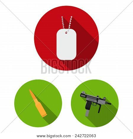 Types Of Weapons Flat Icons In Set Collection For Design.firearms And Bladed Weapons Vector Symbol S