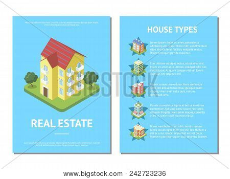 Sale real estate banner with various cozy condo buildings. City street architecture with small residential houses, urban infrastructure with green decorative plants isometric vector illustration. poster