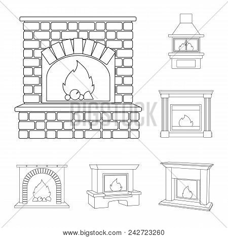 Different Kinds Of Fireplaces Outline Icons In Set Collection For Design.fireplaces Construction Vec