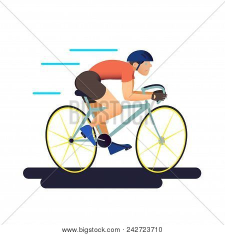 The Cyclist. Bicycle Sportsman In Flat With Gradient Design. It Can Be Used For Flyer, Banner To Spo
