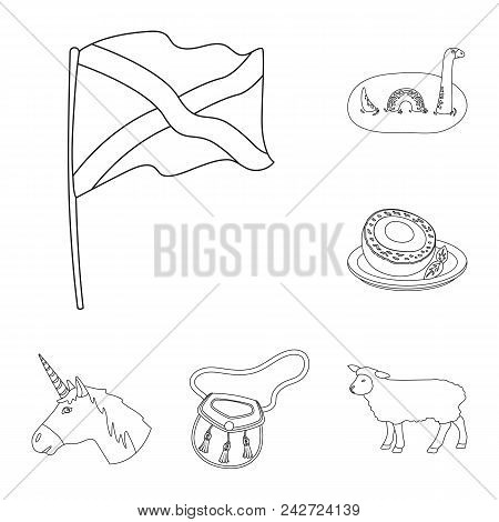 Country Scotland Outline Icons In Set Collection For Design. Sightseeing, Culture And Tradition Vect
