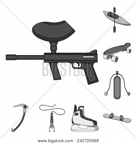 Extreme Sport Monochrome Icons In Set Collection For Design.different Kinds Of Sports Vector Symbol