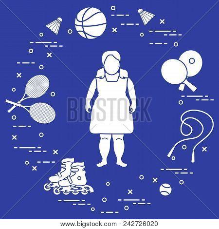Fat Girl, Badminton Rackets And Shuttlecocks, Tennis And Basketball Balls, Rackets And Balls For Tab