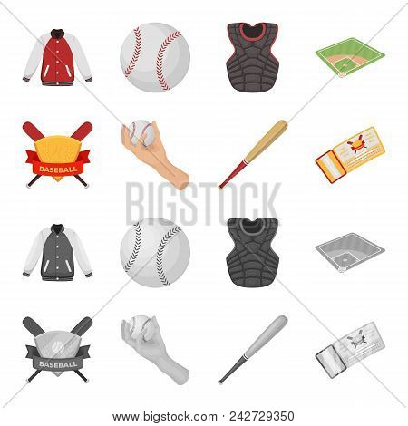 Club Emblem, Bat, Ball In Hand, Ticket To Match. Baseball Set Collection Icons In Cartoon, Monochrom