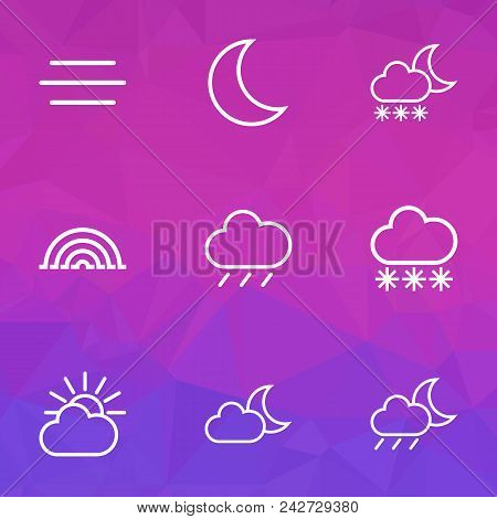 Weather Icons Line Style Set With Overcast, Blizzard, Moonshine And Other Rainstorm Elements. Isolat