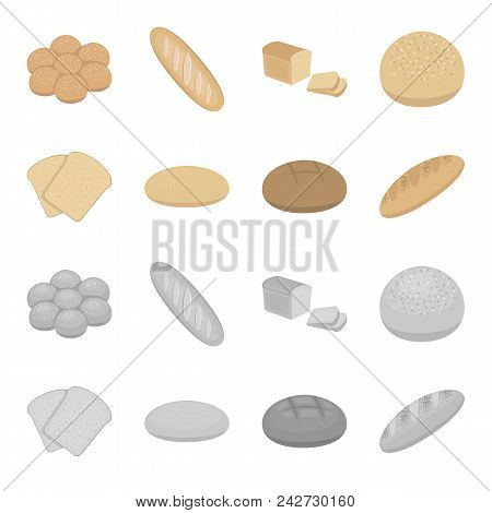Toast, Pizza Stock, Ruffed Loaf, Round Rye.bread Set Collection Icons In Cartoon, Monochrome Style V