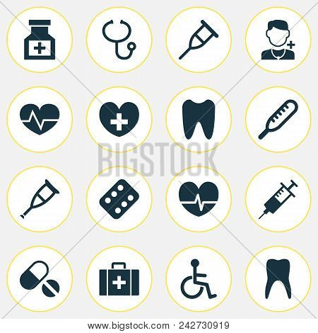 Antibiotic Icons Set With Medicine, Rack, Pellets And Other Remedy Elements. Isolated  Illustration