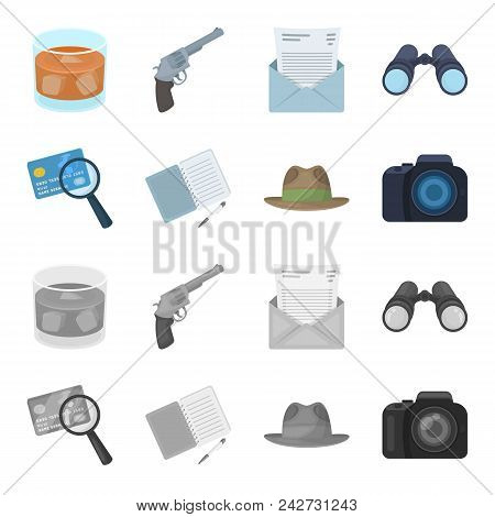 Camera, Magnifier, Hat, Notebook With Pen.detective Set Collection Icons In Cartoon, Monochrome Styl