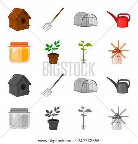 Honey Bank, Plant, Mill.farm Set Collection Icons In Cartoon, Monochrome Style Vector Symbol Stock I
