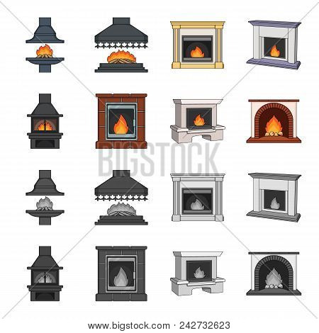 Fire, Warmth And Comfort. Fireplace Set Collection Icons In Cartoon, Monochrome Style Vector Symbol