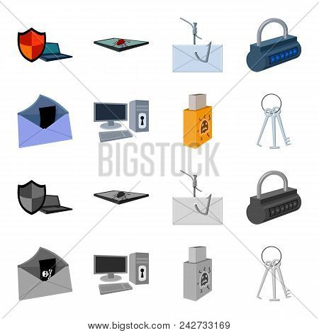 Virus, Monitor, Display, Screen .hackers And Hacking Set Collection Icons In Cartoon, Monochrome Sty