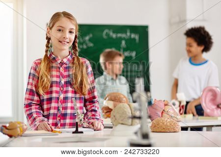 Science Lesson. Nice Smart Girl Standing At The Table While Having A Science Lesson