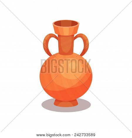Ancient Amphora With Two Handles And Narrow Neck. Tall Ceramic Jug For Wine. Old Greek Or Roman Vase