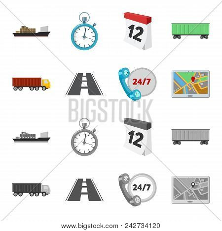 Round The Clock, Road, Truck, Jps.loqistic, Set Collection Icons In Cartoon, Monochrome Style Vector