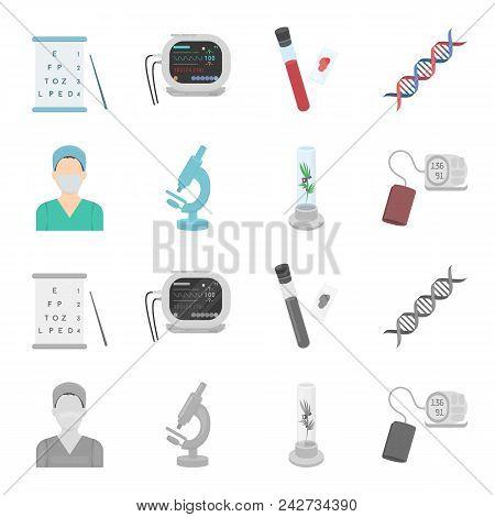 Plant In Vitro, Nurse, Microscope, Tonometer. Medicine Set Collection Icons In Cartoon, Monochrome S