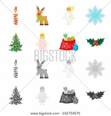 Christmas Tree, Angel, Gifts And Holly Cartoon, Monochrome Icons In Set Collection For Design. Chris