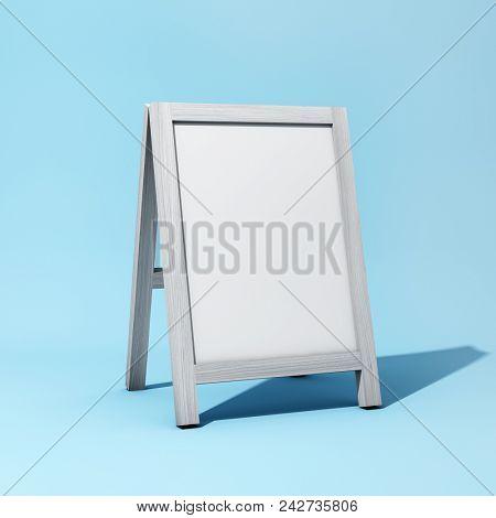 Blank notice board on blue background. 3D illustration.