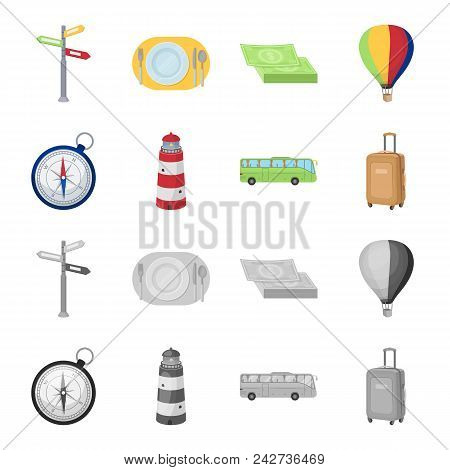 Vacation, Travel, Lighthouse, Compass .rest And Travel Set Collection Icons In Cartoon, Monochrome S