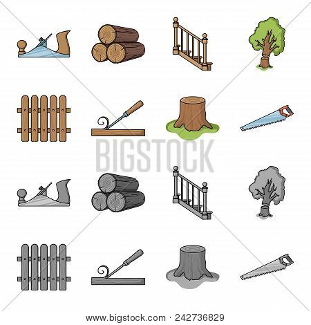 Fence, Chisel, Stump, Hacksaw For Wood. Lumber And Timber Set Collection Icons In Cartoon, Monochrom