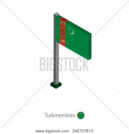 Turkmenistan Flag On Flagpole In Isometric Dimension. Isometric Blue Background. Vector Illustration