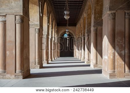 Cairo, Egypt - December 30, 2017: One Of The Passages Surrounding  The Courtyard Of The Mosque Of Ah