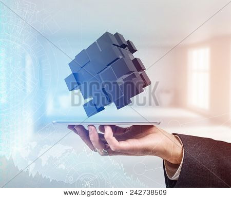 Hand In A Suit Holds Group With Black Cubes. Business Idea. Problem Solving Concept. 3d Rendering
