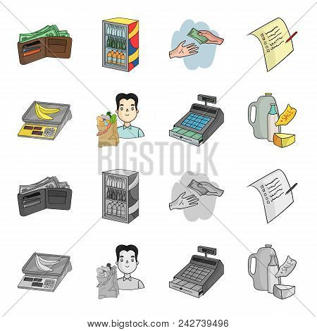 Package, Scales, Banana, Fruit .supermarket Set Collection Icons In Cartoon, Monochrome Style Vector