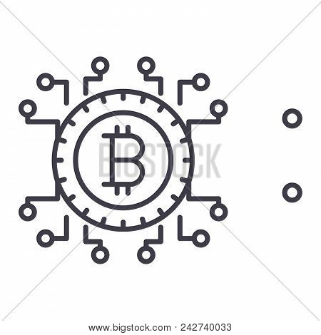 Bitcoin Blockchain Black Icon Concept. Bitcoin Blockchain Flat  Vector Website Sign, Symbol, Illustr