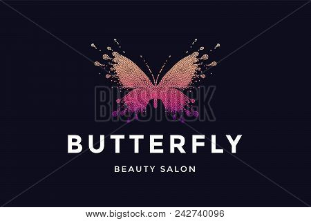 Butterfly. Logo For Beauty Salon With Colorful Red-pink Butterfly And Text Butterfly. Emblem Templat