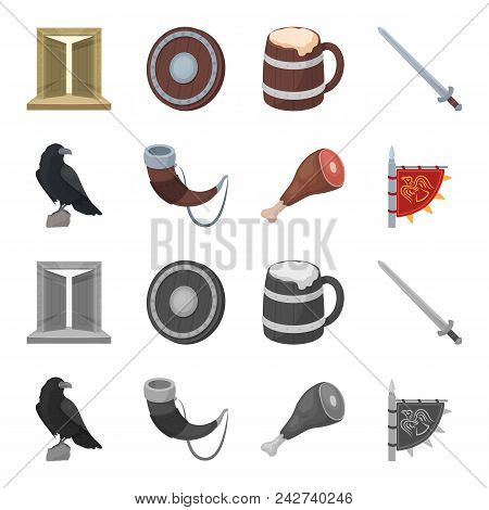 Sitting Crow, Horn With Drink, Ham, Victory Flag. Vikings Set Collection Icons In Cartoon, Monochrom