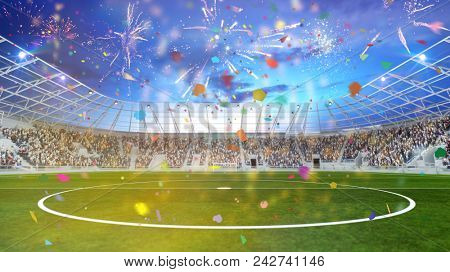 Party in football stadium at cup final with fireworks and confetti (3D Rendering)
