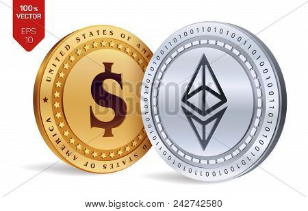 Ethereum. Dollar Coin. 3d Isometric Physical Coins. Digital Currency. Cryptocurrency. Golden And Sil