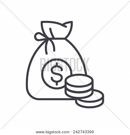 Earned Money Black Icon Concept. Earned Money Flat  Vector Website Sign, Symbol, Illustration.