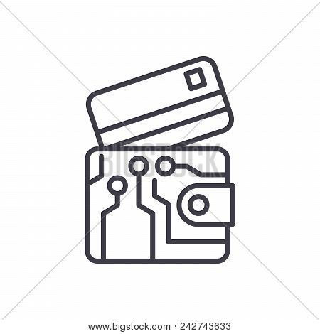 Electronic Wallet Black Icon Concept. Electronic Wallet Flat  Vector Website Sign, Symbol, Illustrat