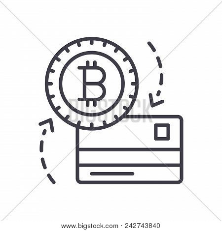 Exchange Of Bitcoin Black Icon Concept. Exchange Of Bitcoin Flat  Vector Website Sign, Symbol, Illus