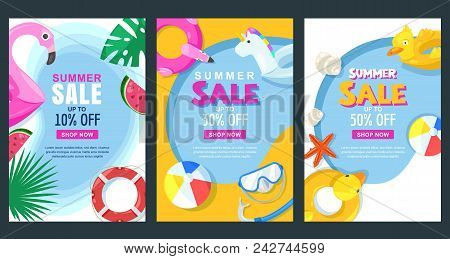 Summer Sale Vertical Banner Or Poster Set. Vector Illustration Of Pool With Float Rubber Toys. Color