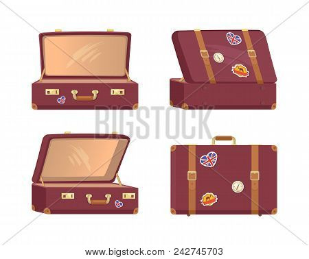 Leather Vintage Suitcases Set Open And Closed Briefcases, Decorative Nostalgia Memories About Great
