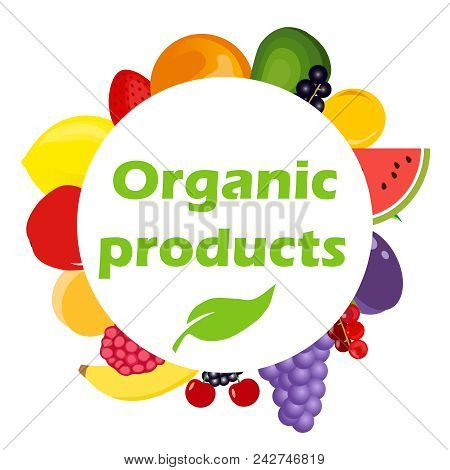Organic Products. Round Banner With Organic Products. The Concept Of Eco Products. Flat Design, Vect
