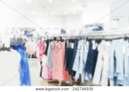Blurred Image Of Store In Shopping Mall, Shopping Concept Or Background