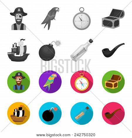 Pirate, Bandit, Ship, Sail .pirates Set Collection Icons In Monochrome, Flat Style Vector Symbol Sto