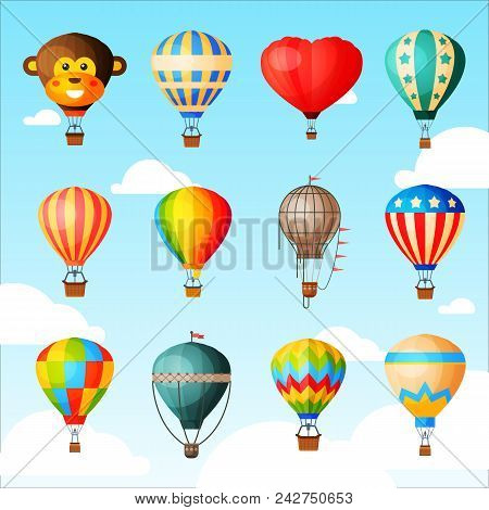 Balloon Vector Cartoon Air-balloon Or Aerostat With Basket Flying In Sky And Ballooning Adventure Fl