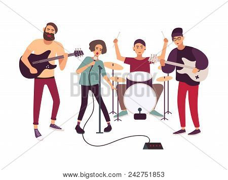 Indie Rock Music Band Performing On Stage Or Rehearsing. Young Woman Singing Into Microphone And Mal