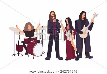 Heavy Metal Or Gothic Rock Band Performing On Stage. Men And Women With Long Hair Singing And Playin