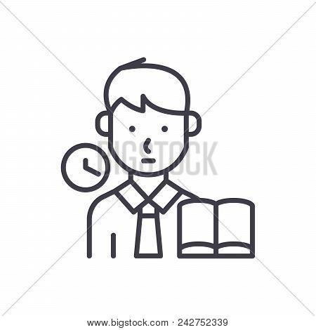 Taking An Examination Black Icon Concept. Taking An Examination Flat  Vector Website Sign, Symbol, I