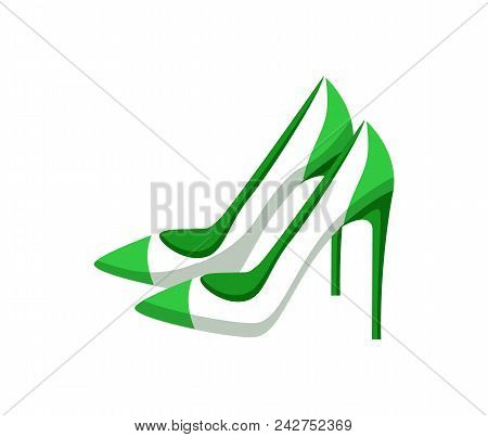Pair Of Modern Heeled Shoes, Multicolored Banner, Vector Illustration With Pair Of White Footwear Wi
