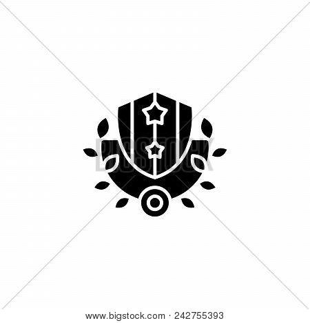Royal Shield And Wreath Black Icon Concept. Royal Shield And Wreath Flat  Vector Website Sign, Symbo